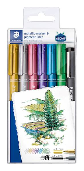 Staedtler flomaster Design Journey Metalic, sort, 6/1 v PVC etuiju